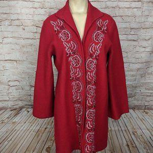 Jones New York Red Beaded Merino Wool Open Jacket